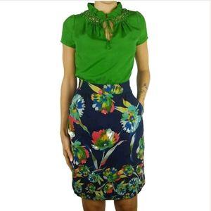 Tabitha Anthropologie floral tie neck Elland dress